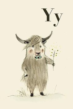 """THE LETTER """"Y""""~Y for Yak  Alphabet animal,  Print 8x11 inches"""