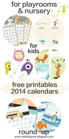 8+ free printable 2014 calendars kids will love - ausdruckbare Kinderkalender - nursery round-up | MeinLilaPark – digital freebies