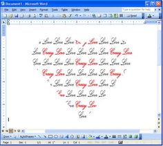 How to make your words into a heart shape using Microsoft Word