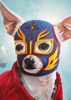 We do lucha libre. Chihuahua Art, Dachshund, Art Chicano, Mexican Wrestler, Mundo Animal, Mexican Art, Famous Mexican, Folk Art, Illustration Art
