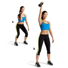 PUSH PRESS     Find out how to do this exercise and the rest of the kettlebell workout here: http://www.womenshealthmag.com/fitness/kettlebell-workouts
