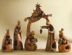 Beautifully done resin nativity which looks like carved olive wood.