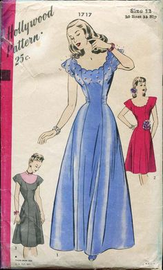 1940s Dress Pattern Hollywood 1717 Short Day by FloradoraPresents, $40.00