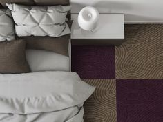 The Identity One collection by Milliken; Imprint in Neutral and Purple. Be true. Be yourself. Create an Identity One. Visit us at number 2813. #HDExpo15 #HDExpo #hospitalitydesign #modularcarpet #interiordesign #InteriorIdentities