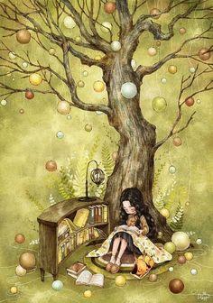 By South Korean artist Aeppol Art And Illustration, Poster Print, Creation Photo, Art Watercolor, Reading Art, Happy Reading, Forest Girl, Korean Artist, Whimsical Art