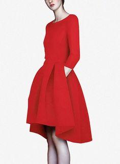 Mieszanka Bawełny Solidny 1029502/1029502 Rękawy High Low Nieformalny Sukienki (1029502) @ floryday.com