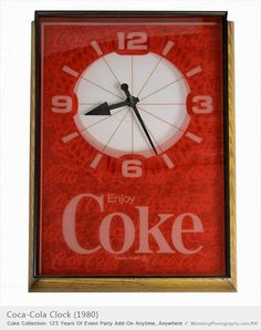*COCA-COLA CLOCK, 1980, this clock probably hung on a wall in a restaurant or diner.