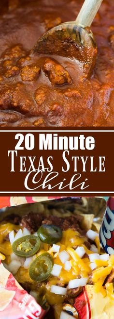 This Texas style chili is bursting with meat and spice, and only takes 20 minutes to come together.  And this is the ideal chili to have on a Frito Pie!! Perfect for gamedays or family dinner!