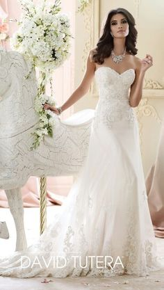 Strapless Lace A Line Hand Beaded Neckline Wedding Dress