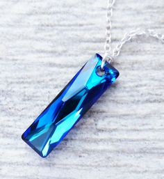 Bermuda Blue Crystal Necklace, Swarovski Rectangle Pendant, Sterling Silver, Column Pendant, Prism Necklace, Under 40, Gift for Her, Ocean by JBMDesigns on Etsy https://www.etsy.com/listing/223369627/bermuda-blue-crystal-necklace-swarovski