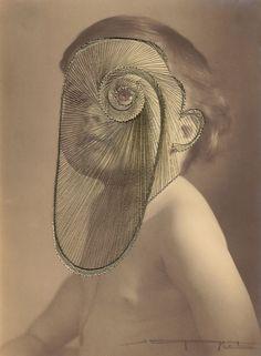 Maurizio Anzeri est un artiste Italien qui brode des figures géométriques avec des fils colorés sur de vieux portraits.