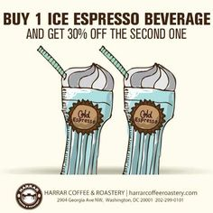 A start of a new week means a new promotion. Buy 1 ice espresso beverage and get 30% OFF the second one. The hot weather is fading away, take advantages of our cold beverages before it's too late.