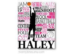 Girl's Basketball Typography Art, Perfect Sporty Girl's Room Art, You Choose the Colors, Makes a Great Gift for any Basketball Lover