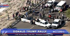 "SEE IT: Anti-Donald Trump protesters block Ariz. road, chain themselves to stalled cars to keep candidate away from rally | 3.19.16 |""Anti-Donald Trump protesters blocked an Arizona highway and created a traffic nightmare Saturday morning. The Trump haters parked their cars in the middle of the three-lane road that leads to Fountain park — and some protesters even chained themselves to their vehicles to slow down cops' efforts to clear the blockade."""
