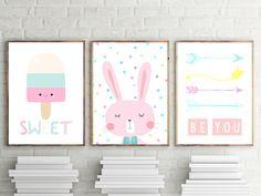 Nursery or Bedroom Prints, Kids Wall Art Decor, Girls Bedrooom Prints, Pastel Bunny, Ice Cream, Arrow Prints, Set of 3- A4 A3 by TheKidsPrintStore on Etsy