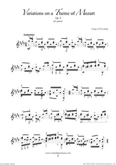 Sor - Variations On A Theme Of Mozart Op.9 sheet music for guitar solo