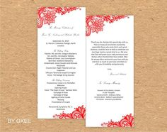Printable Wedding ceremony program template Vintage Red by Oxee