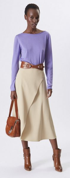 Ralph Lauren Collection Pre-Spring 2016: lavender cashmere silk sweater, sand cavalry twill skirt vintage saddle burnished vachetta bag and tan burnished calf equestrian bootie