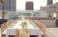 a glamorous rooftop tablescape