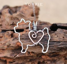 Yorkie Dog Necklace, Custom Dog Necklace, Sterling Silver Dog, Dog Outline, Wire Jewelry