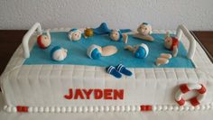 Waterpolo taart  Waterpolo cake Waterpolo, Cake Decorations, Cake Ideas, Toy Chest, Cake Toppers, Food Ideas, Birthday Cake, Cakes, Signs