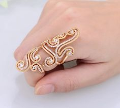 Gold Swirl Cz Full Finger Ring, Knuckle Rings, Body Kandy Couture