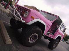 Ford Bronco with pink zebra seats, ah yes