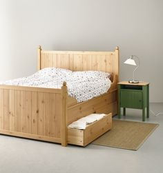 IKEA Fan Favorite: HURDAL bed. The solid pine shows off the attractive grains and beauty mark knots that give each unique piece its own naturally grown, individual personality.