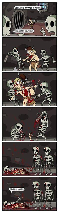 Why skeletons attack! Funny Memes, Funny Pins, Skeleton Warrior, Dorkly, Gamer Humor, Gaming Memes, El Humor, Cave Drawings, Video Game Logic