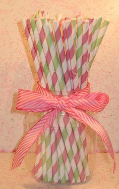 Blush Pink and Green Stripe Paper Straws by sweettreatssupplies, $4.15