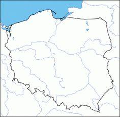 mapa konturowa Polski z rzekami