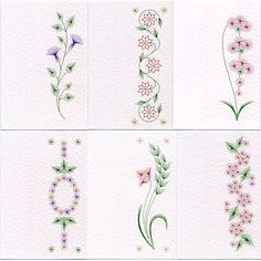 Value Pack No. 22: Bookmark Flowers at Stitching Cards - ePatterns for paper embroidery