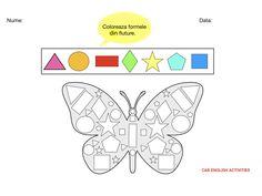 Coloreaza formele din fluture English Activities, Diagram, Chart, Blog, 1st Grades, Blogging