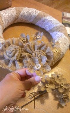 Burlap and Lace wreath with burlap flowers IMAG7674