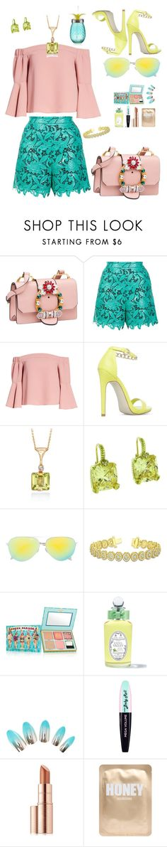 """Untitled #17"" by shewalksinsilence ❤ liked on Polyvore featuring Miu Miu, MSGM, Topshop, JustFab, Ross-Simons, Judith Ripka, Victoria Beckham, Allurez, Benefit and PENHALIGON'S"