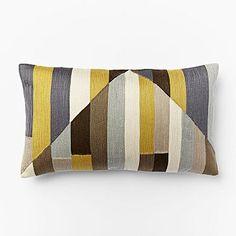 Crewel Stripes Pillow Cover - Horseradish west elm