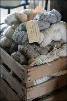 Shetland Sheep Wool and Roving Skeins of Yarn Natural Colors
