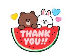 Brown Cony Summer Outing stickers and other animated stickers Cute Love Pictures, Cute Love Gif, Cute Couple Cartoon, Cute Cartoon, Gif Animé, Animated Gif, Gif Kawaii, Thank You Gifs, Thanks Gif