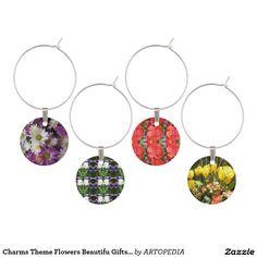 Charms Theme Flowers Beautifu Gifts O Reiki Master Wine Charms