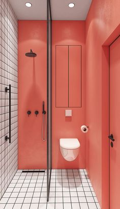 coral walls contrast white tiles with black grout to make up a bold and unusual bathroom Bathroom Interior Design, Decor Interior Design, Interior Decorating, Colorful Interior Design, Decorating Games, Design Interiors, Interior Accessories, Bathroom Accessories, Interior Ideas
