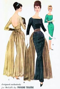 1960 Sizzling Pauline Trigere Fishtail Back Evening Gown Pattern McCalls 5588 Glove Fitting Sheath Dress In Formal  or Cocktail Length Plunging Low Back Flowing Sash Drape Pure Man Magnet Design Bust 32 Vintage Sewing Pattern 145
