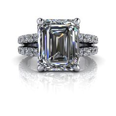 Emerald Cut Split Shank Engagement Ring SUPERNOVA Moissanite and Diamonds 4.61 CTW
