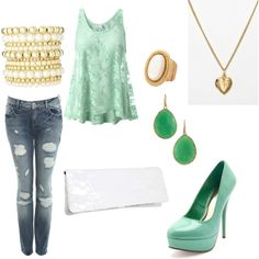 Casual Outfit - Seafoam green w/ gold accents, created by vidah