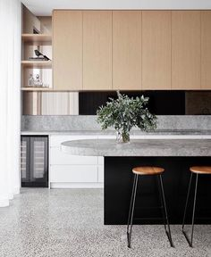 "Dot➕Pop Interiors - Eve Gunson on Instagram: ""That curved bench though 🙌🏼 Kitchen love - Brunswick Project by @sync_design  Photography @jack.lovel"""