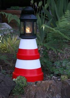 From Country Living. Turn a couple of terracotta pots into an outdoor lighthouse.