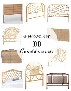 Pretty Real: So Many Boho Headboards! <br> Check out this amazing round up of vintage headboards, rattan headboards, cane headboards.the best BOHO headboards! Vintage Headboards, Headboards For Beds, Bamboo Headboard, Rattan Bed Frame, Bohemian Headboard, Room Divider Headboard, Headboard Decor, King Headboard, Home Bedroom
