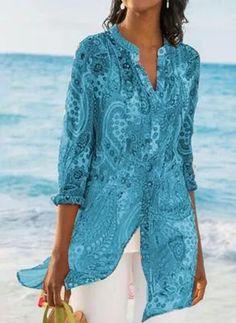 2019 Casual Chiffon Printed Button Retro Beach Dress Women Bohemia Bikini Swimwear Kaftan Beach Cover Up Saida De Praia Pareos - Purple XXL Blouse En Coton, Plus Size Bohemian, Bohemian Tops, Geometric Sleeve, Maxi Robes, Maxi Dresses, Chiffon Shirt, Print Chiffon, Collar Blouse