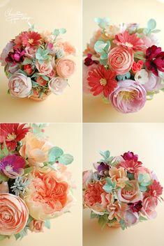 paper flowers, centerpiece, autumn colors.