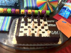 I did it! My version of the chess board cake for my son.