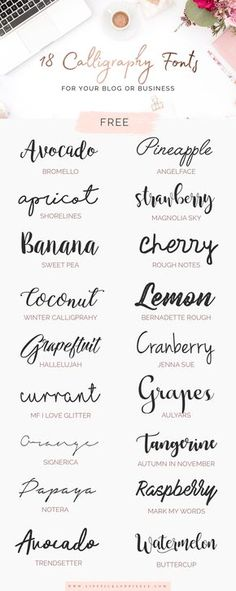 18 FREE calligraphy fonts for you blog or business via @lipstick_pixels